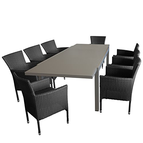 Multistore 2002 9tlg. Gartengarnitur, Gartentisch, Alurahmen, Tischplatte Polywood Teakfarben, 200x90cm + 8X Rattansessel, Polyrattan Schwarz, Sitzkissen