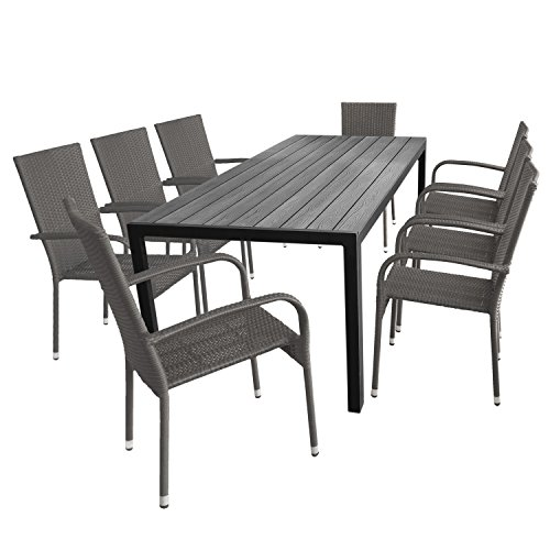 Multistore 2002 9tlg. Gartengarnitur Sitzgruppe Terrassenmöbel Gartenmöbel Set - Aluminium Gartentisch, Polywood-Tischplatte, 205x90cm + 8X Gartenstuhl, Polyrattanbespannung, stapelbar, Grau-Meliert