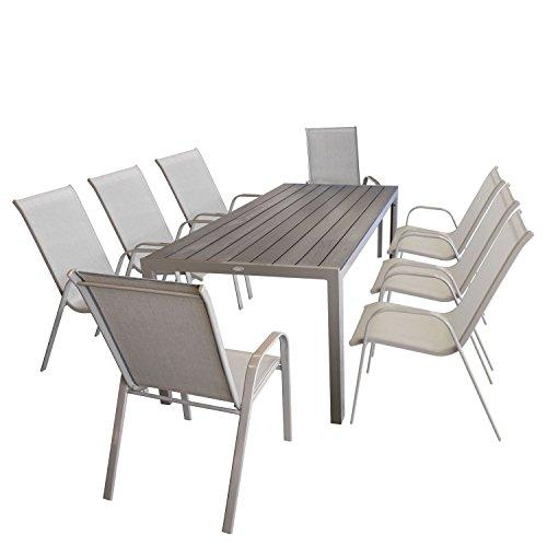 Multistore 2002 9tlg Sitzgruppe Gartentisch, Aluminiumrahmen, Polywood Tischplatte Champagner, 205x90cm + 8X Stapelstuhl, Textilenbespannung Champagner/Gartengarnitur Gartenmöbel Set Sitzgarnitur