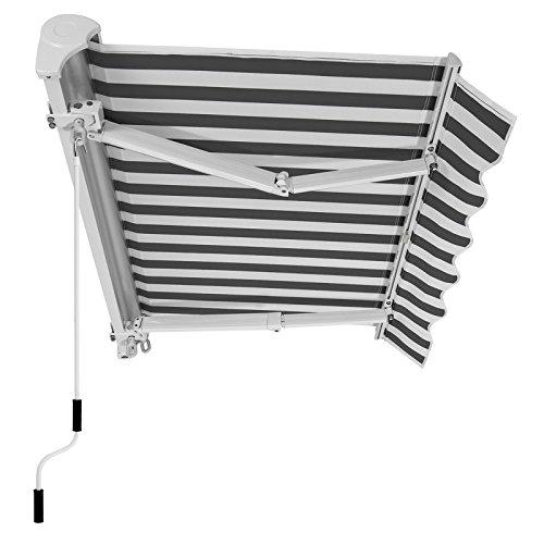 SONGMICS Gelenkarmmarkise 350 cm, Markise, Sonnenschutz mit Markisenkasten, Neigungswinkel verstellbar, weiß und grau, 350 x 250 cm, GRA351GW