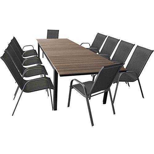 11tlg. Terrassenmöbel Set Gartentisch ausziehbar Aluminium Polywood 280/220x95cm + 10 stapelbare Gartenstühle mit Textilenbespannung Anthrazit - Sitzgarnitur Sitzgruppe Gartenmöbel Gartengarnitur