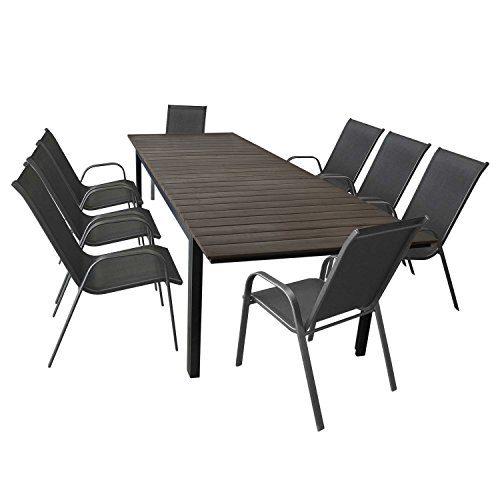 9tlg. Terrassenmöbel Set Aluminium Ausziehtisch Gartentisch mit ...