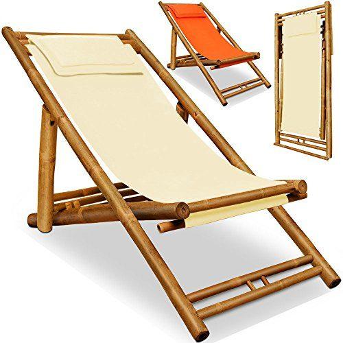 Deuba Liegestuhl | 3-fach höhenverstellbar | weiches Kopfkissen | massiver Bambus | klappbar | Sonnenliege Bambusliege Gartenliege Strandliege Liege Stuhl - beige
