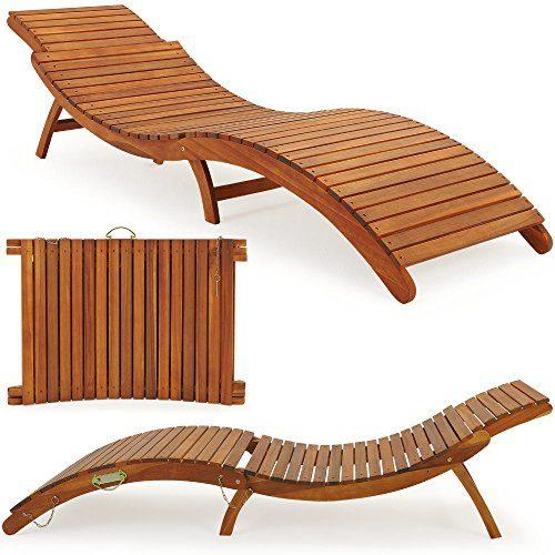 Deuba Sonnenliege | Akazien Holz | Faltbar | Kofferfunktion | Kurvig | Ergonomisch | Gartenliege Liegestuhl Akazie Holziege Liege