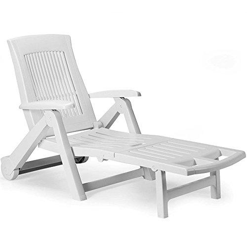 Deuba Sonnenliege Liege Zircone Gartenliege Relaxliege Liegestuhl Gartenmöbel Rollliege Kunststoff weiß