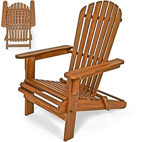 Deuba Sonnenstuhl Adirondack aus Akazienholz | klappbar | Abgerundete Armlehnen | Deckchair Liegestuhl Holzstuhl Gartenstuhl