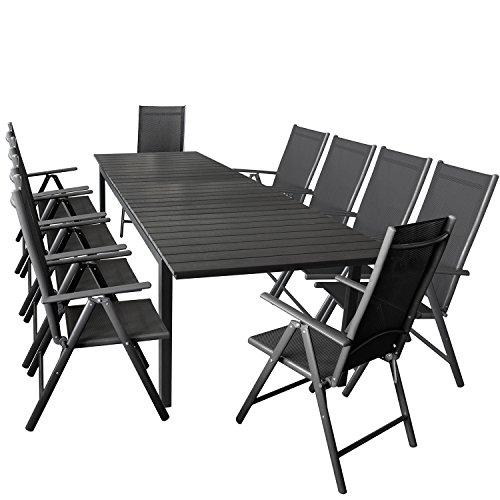 Wohaga 11er Gartenmöbel Set ausziehbarer Aluminium Gartentisch mit Polywood-Tischplatte 280/220x95cm Schwarz + 10x Hochlehner mit 2x2 Textilengewebe, Rückenlehne 7-Fach Verstellbar