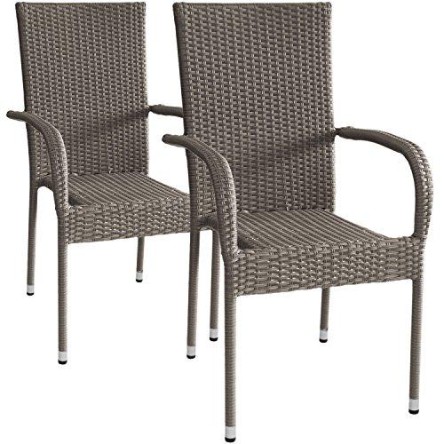 Wohaga 2 Stück Polyrattan Gartensessel Stapelsessel Rattansessel stapelbar Grau-Meliert Sitzmöbel Gartenmöbel