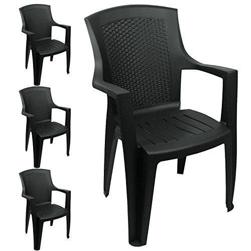 Wohaga 4er Set Gartenstühle im Rattan Look Schwarz Gartensessel Kunststoff Bistrostuhl Balkonmöbel Terrassenmöbel Stapelstuhl