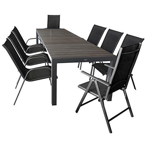 Wohaga 9er Set Gartenmöbel Gartentisch Ausziehbar 205/275x100cm + 6X Stapelstuhl mit Textilengewebe + 2X Hochlehner mit Textilengewebe Anthrazit/Schwarz