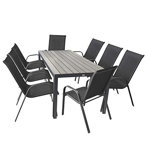 Wohaga 9tlg. Terrassenmöbel Set Gartentisch Polywood Aluminium 205x90cm + 8X Stapelstuhl Stahlgestell Textilenbespannung Anthrazit Sitzgarnitur