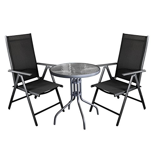 wohaga balkonm bel set bistro glastisch in anthrazit 60cm standfester 4 fu 2x gartenstuhl. Black Bedroom Furniture Sets. Home Design Ideas