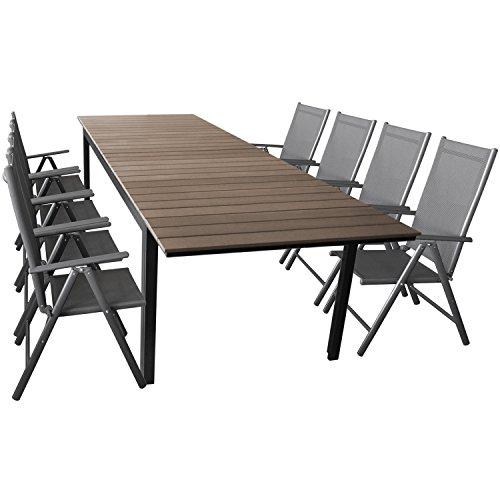 Wohaga Elegante Sitzgarnitur 9-teilig Sitzgruppe Gartengarnitur Terrassenmöbel Gartenmöbel Set Aluminium Polywood Ausziehtisch 280/220x95cm + 8X Hochlehner 2x2 Textilenbespannung