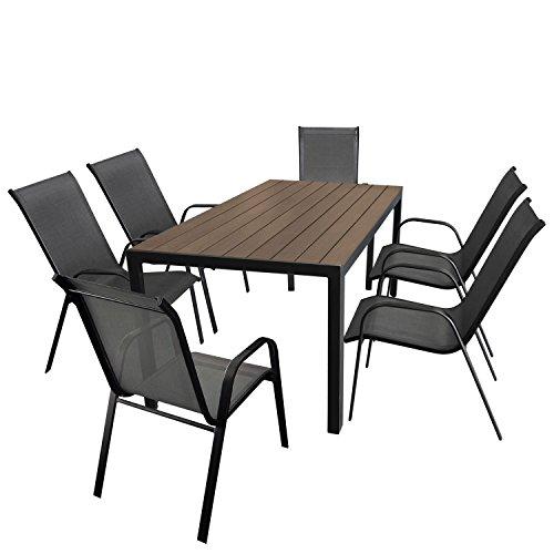 Wohaga Gartenmöbel-Set Aluminium Gartentisch mit Polywood-Tischplatte 150x90cm + 6X Stapelstuhl mit anthrazitfarbener Textilenbespannung, Gestell pulverbeschichtet Schwarz