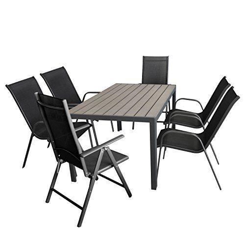 Wohaga Gartenmöbel-Set Aluminiumtisch mit Grauer Polywood-Tischplatte, 150x90cm + 4X Stapelstuhl mit Textilenbespannung + 2X Verstellbare Alu Hochlehner mit Textilenbespannung