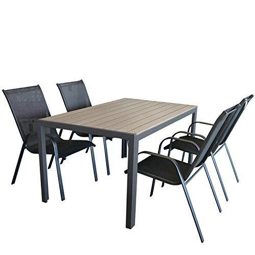 Wohaga Gartenmöbel Set Gartentisch, Aluminiumrahmen Anthrazit, Tischplatte Polywood Grau, 150x90cm + 4X Stapelstuhl, Textilenbespannung Schwarz, Stahlrohrgestell Anthrazit