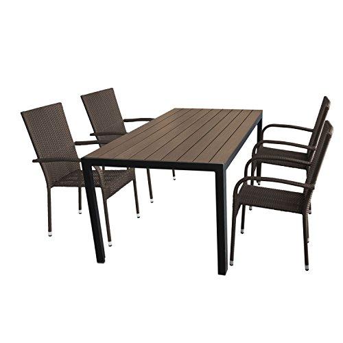 Wohaga Gartenmöbel-Set Gartentisch, Aluminiumrahmen Schwarz, Tischplatte Polywood Brown-Grey 150x90cm + 4X Stapelstuhl, Polyrattanbespannung Braun-Meliert
