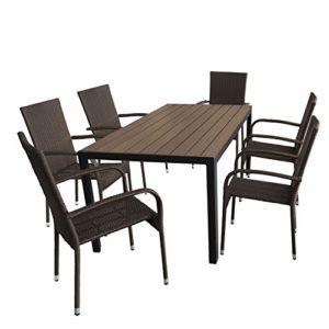Wohaga Gartenmöbel-Set Gartentisch, Aluminiumrahmen Schwarz, Tischplatte Polywood Brown-Grey 150x90cm + 6X Stapelstuhl, Polyrattanbespannung Braun-Meliert