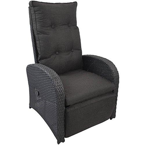 Wohaga Poly-Rattan Sessel Gartensessel Rattansessel Relaxsessel Loungesessel Fernsehsessel mit Fußteil und Auflage Lehne stufenlos verstellbar Rattanmöbel Gartenmöbel
