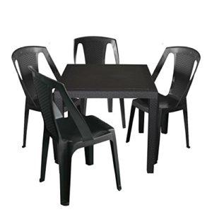 Wohaga Praktisches 5-Teiliges Campingmöbel Gartenmöbel Set Sitzgruppe Gartengarnitur Vollkunststoff - Gartentisch, 79x79cm, Rattan-Look + 4X Stapelstuhl - Anthrazit