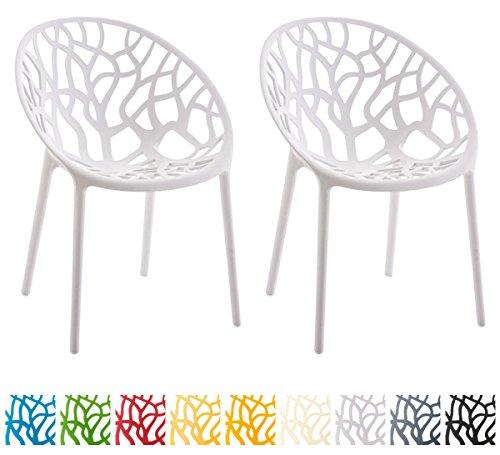 CLP 2er-Set Gartenstuhl Hope aus Kunststoff I 2X Wetterbeständiger Stapelstuhl mit Einer max. Belastbarkeit von: 150 kg I In verschiedenen Farben erhältlich Weiß