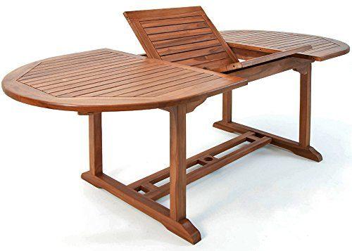 Deuba Luxus Gartentisch Vanamo 200x100cm Eukalyptusholz Gartenmöbel ✔Tischplatte verstellbar ✔Halterung für Sonnenschirm - Modellauswahl ✔2x1m