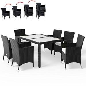 Deuba Poly Rattan Sitzgruppe 6+1 Schwarz | Stapelbare Stühle | 7cm Dicke Auflagen [ Auswahl 4+1/6+1/8+1 ] - Gartenmöbel Lounge Sitzgarnitur Set