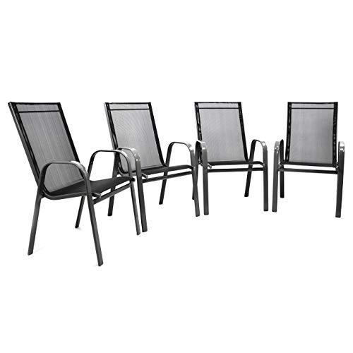 Nexos 4er Set Gartenstuhl Stapelstuhl Stapelsessel Hochlehner Terrassenstuhl – Textilene Stahlgestell – Farbe: Rahmen dunkelgrau/Bespannung schwarz
