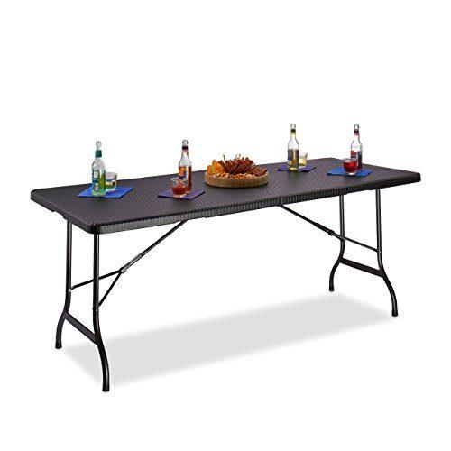 Relaxdays Gartentisch klappbar BASTIAN, groß, Tragegriff, stabiler Campingtisch, H x B x T: 72 x 178 x 74 cm, schwarz