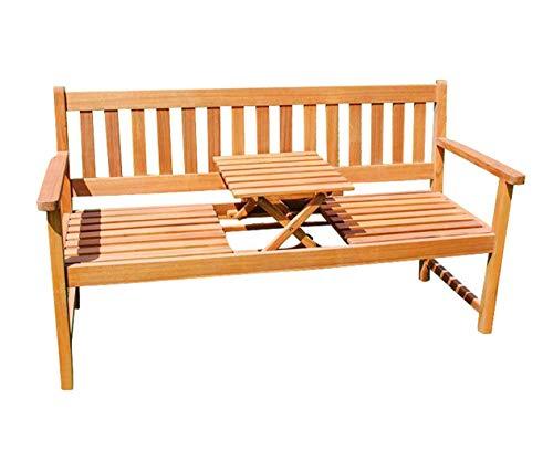 SAM 3-Sitzer Gartenbank Lorenzo, integriertem einklappbarem Tisch, Holzbank Akazie, 157 x 60 cm, FSC® 100% Zertifiziert