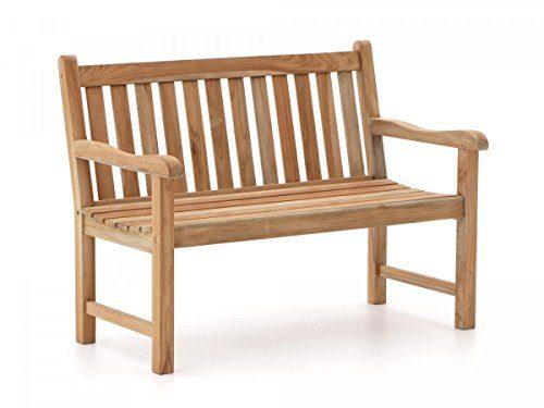 Sunyard Stabile Gartenbank Wales aus massivem, unbehandeltem Holz, Teakholz 2-Sitzer 120 cm