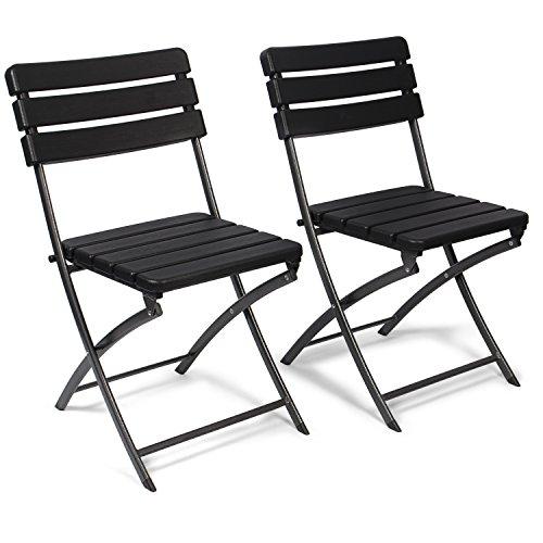 Vanage Gartenstuhl in schwarz - klappbare Gartenstühle im 2er Set - hochwertige Klappsessel in Holzoptik - Hochlehner - pflegeleichter Klappstuhl