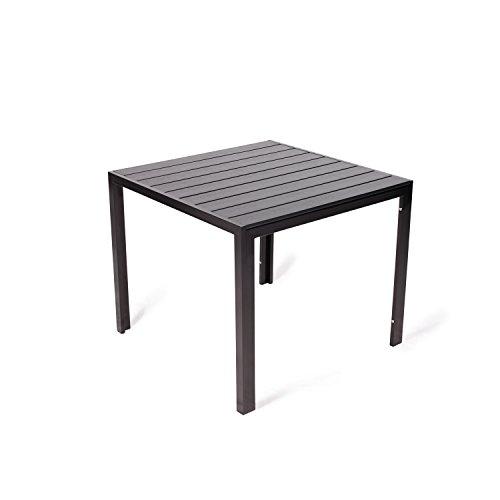 Vanage Polywood Alu Gartentisch stabil und pflegeleicht 90x90cm schwarz