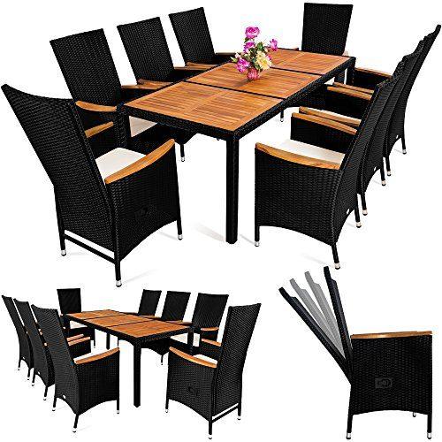 Deuba Poly Rattan Sitzgruppe 8+1 Schwarz I 7cm Dicke Auflagen I Tisch & Armlehnen Holz I Neigbare Lehne Gartenmöbel Set