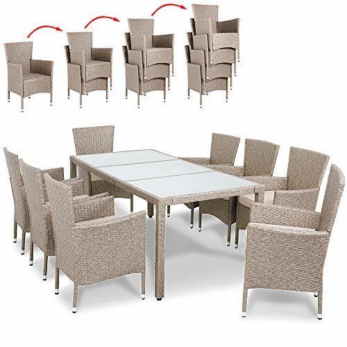 Deuba Poly Rattan Sitzgruppe Grau Beige | 8 Stapelbare Stühle & 1 Tisch | 7cm Dicke Auflagen I Gartenmöbel Garten Set