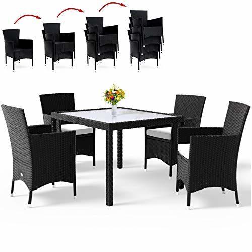 Deuba Poly Rattan Sitzgruppe Schwarz | 4 Stapelbare Stühle & 1 Tisch | 7cm Dicke Auflagen I Sitzgarnitur Gartenmöbel Set