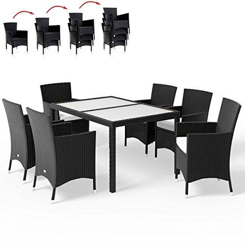 Deuba Poly Rattan Sitzgruppe Schwarz | 6 Stapelbare Stühle & 1 Tisch | 7cm Dicke Auflagen I Gartenmöbel Sitzgarnitur Set