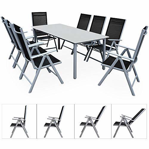 Deuba Sitzgruppe Bern 8+1 | Aluminium | 7-Fach verstellbare Hochlehner | Milchglas Tisch | Silber - Gartenmöbel Set