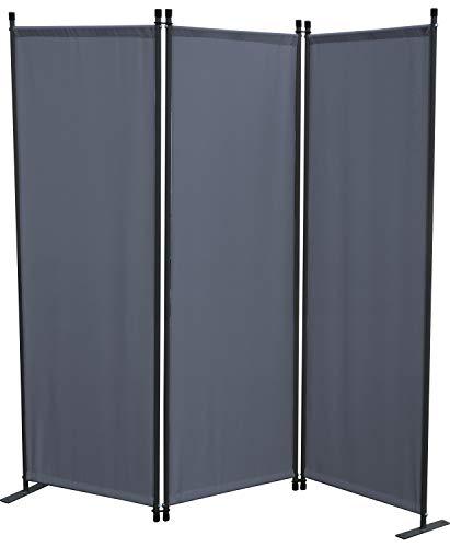 GRASEKAMP Qualität seit 1972 Paravent 3tlg Grau Raumteiler Trennwand Sichtschutz Balkon
