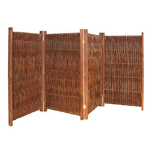Gartenpirat Weiden-Paravent Raumteiler 4-teilig 240x140 (LxH) aus Holz + Weide Geflochten