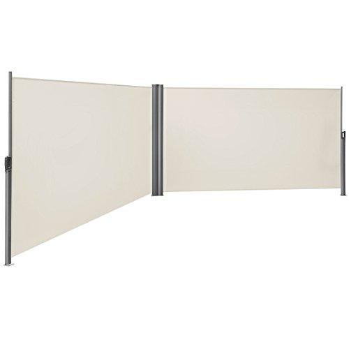 SONGMICS 180 x 600 cm (H x L), Doppelseitenmarkise ausziehbar, Sichtschutz, Sonnenschutz, TÜV SÜD GS Zertifiziert, verdickter Polyester 280g/㎡, Beige GSA360E