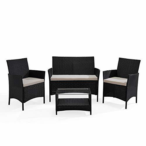 SVITA Brooklyn Gartenmöbel Poly Rattan Sitzgruppe Essgruppe Set Sofa-Garnitur Lounge Braun, Grau oder Schwarz (Schwarz)
