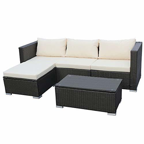 SVITA Queens Poly Rattan Sitzgruppe Couch-Set Ecksofa Sofa-Garnitur Gartenmöbel Lounge Grau, Schwarz oder Braun (Grau)