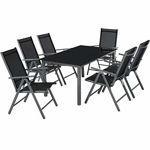 TecTake 800355 Aluminium Polyrattan 6+1 Sitzgarnitur Set, 6 Klappstühle & 1 Tisch mit Glasplatten - Diverse Farben - (Dunkelgrau | Nr. 402166)