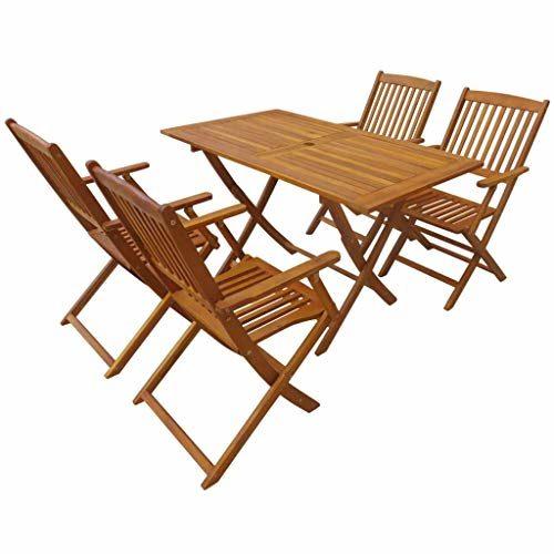 Tidyard- Garten-Essgruppe 5-TLG. Akazie Massivholz Tisch und Stuhl Set | Holztisch und Stuhl | Gartengruppe | Gartenmöbel Essgruppe 1 Tisch + 4 Klappstühle