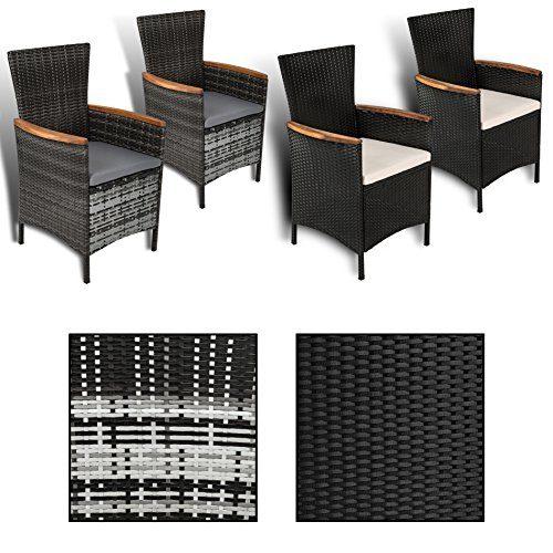 ESTEXO 2er Set Polyrattan - Gartensessel mit Akazienholz Armlehnen, Rattan Sessel/Stühle (Schwarz)