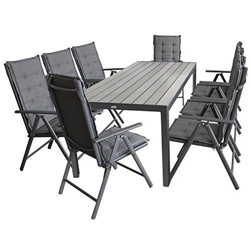 Multistore 2002 17tlg. Gartengarnitur Aluminium Polywood 205x90cm + 8X Hochlehner, 2x2 Textilenbespannung, Lehne 7-Fach verstellbar + 8X Stuhlauflage - Gartenmöbel