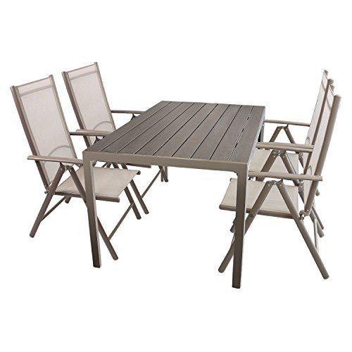 Multistore 2002 5tlg. Gartenmöbel Set Sitzgruppe Aluminium Polywood/Non Wood Gartentisch 150x90cm + 4X Hochlehner mit Textilenbespannung klappbar Bistrostuhl Gartenstuhl Klappstuhl Balkonstuhl