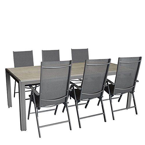 Multistore 2002 7tlg. Gartengarnitur, Aluminium Gartentisch mit Polywood-Tischplatte 205x90cm + 6X Aluminium-Hochlehner mit Textilenbespannung, 7-Fach verstellbar, klappbar, anthrazit