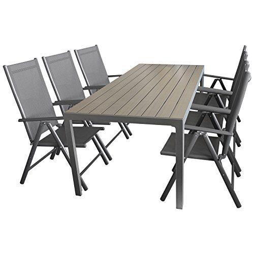 Multistore 2002 7tlg. Sitzgruppe Gartengarnitur Gartenmöbel Terrassenmöbel Set Sitzgarnitur Aluminium Polywood Tisch 205x90cm + 6X Hochlehner 2x2 Textilen